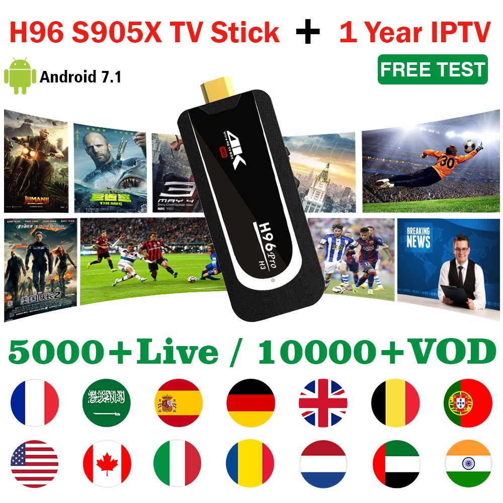H96 Pro mini PC Android TV Stick with 1 year IPTV subscription for Arabic French Europe IPTV 10000+ VOD 5000+ Live 4K TV dongle(China)