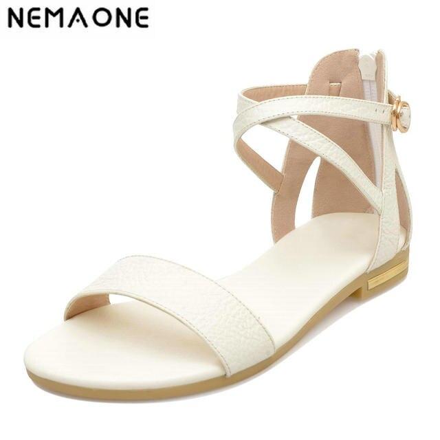 f7d0f4cecc3846 2019 genuine leather Women Sandals Summer Beach Sandals cross strap Ladies  Flat Sandals Shoes large size 34-43