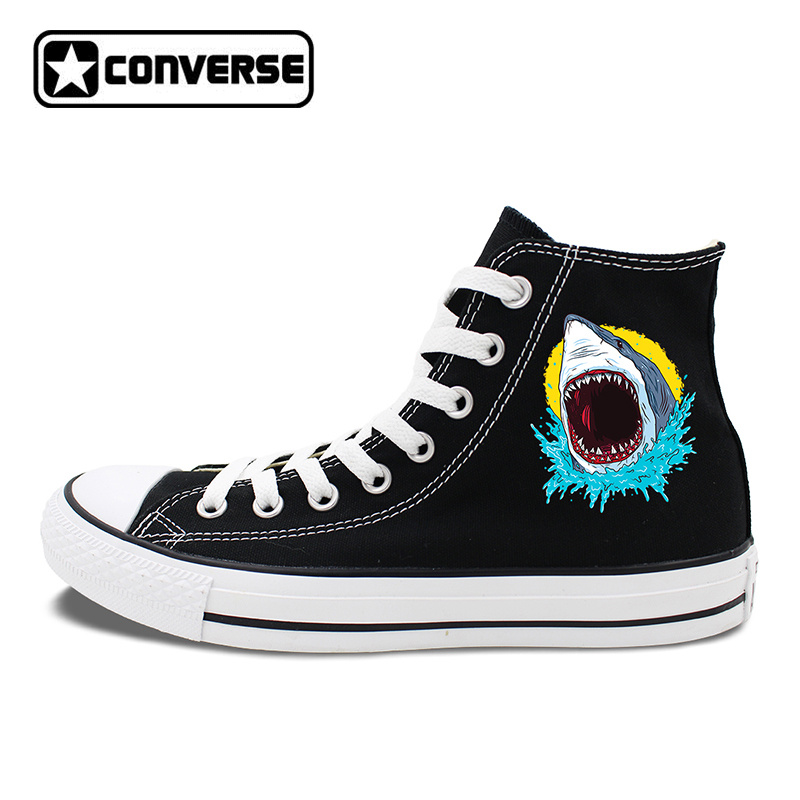 Original Canvas Sneakers Design Great White Shark Skateboarding Shoes Men Converse All Star Brand Chuck Taylors Women магазин tamaris екатеринбург