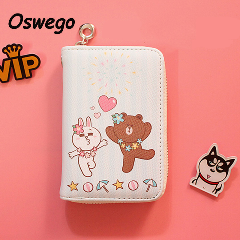 Cartoon Bear Brown & Bunny Cony Cute Coin Purse PU Leather Women Short Wallet Zipper Key Phone Money Storage Bag for Children vortex 62001