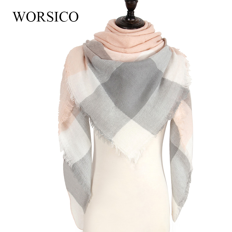 WORSICO Winter Luxury Plaid Cashmere Scarves Women Triangle