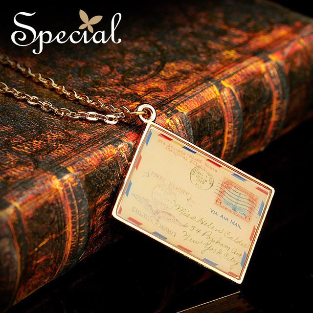 Special Letter Necklaces Pendant Free Shipping Enamel Vintage Long Necklace As Gift XL141157