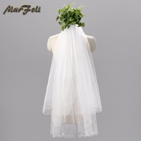 Marfoli New Arrival Two layers Short Wedding Veils With Comb White Ivory Bridal Gowns Fashionable Bead Edge Popular V8 Hot Sale