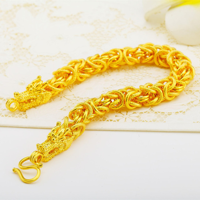 "Chinese dragon chain bracelet  yellow gold filled handsome mens statement accessories 8.26"" 21cm"