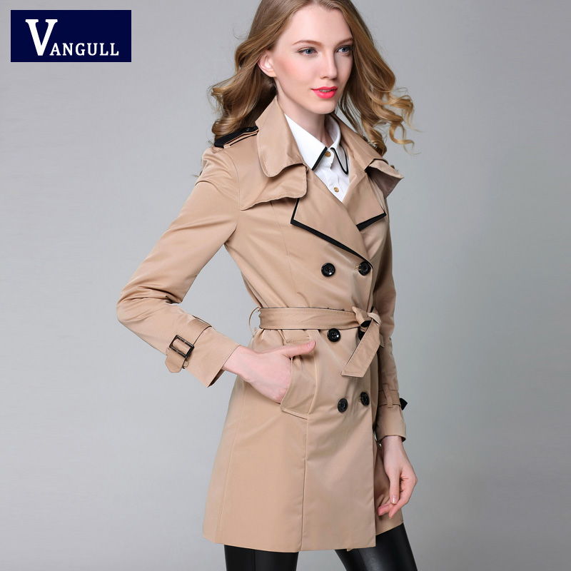 VANGULL 2016 New Fashion Designer Brand Classic European   Trench   Coat khaki Black Double Breasted Women Pea Coat real photos