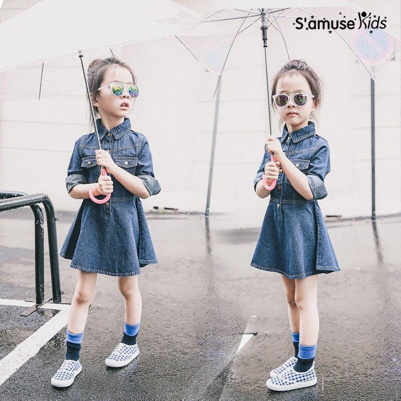 Autumn Girls Dress Fashion Long Sleeve Solid Children Denim Dress Outerwear 2017 New Baby Costume Kids Clothes Vestido Infantil