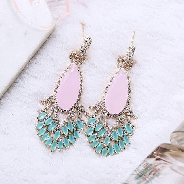 Pendientes de pavo real bonito con forma de cola para mujer, aretes de gota de agua con circón de lujo, joyería de latón elegante XIUMEIYIZU