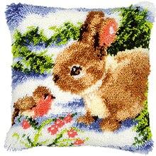 DIY Latch Hook Kits Rug Pillowcase Crocheting Cushion Carpet Unfinished Handmade Canvas Mat Cartoon for Adults Kids Gift Rabbit