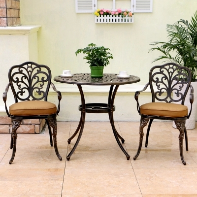 balcony furniture Cast aluminum leisure garden table and chair combination Outdoor tables and chairs european leisure tables and chairs fashion leisure sofa chair small coffee table beauty salon to discuss the single chair 3pcs