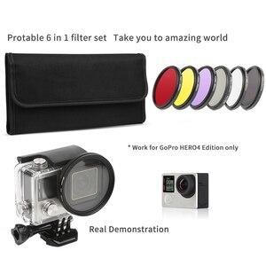 Image 5 - Ateş 52mm/58mm CPL ND UV filtre seti GoPro Hero için 7 6 5 siyah 4 3 + gümüş eylem kamera su geçirmez kılıf git Pro aksesuarları için