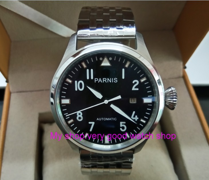 47mm big pilot PARNIS Black dial Automatic Self-Wind movement Auto Date men watches luminous Mechanical watches df71A