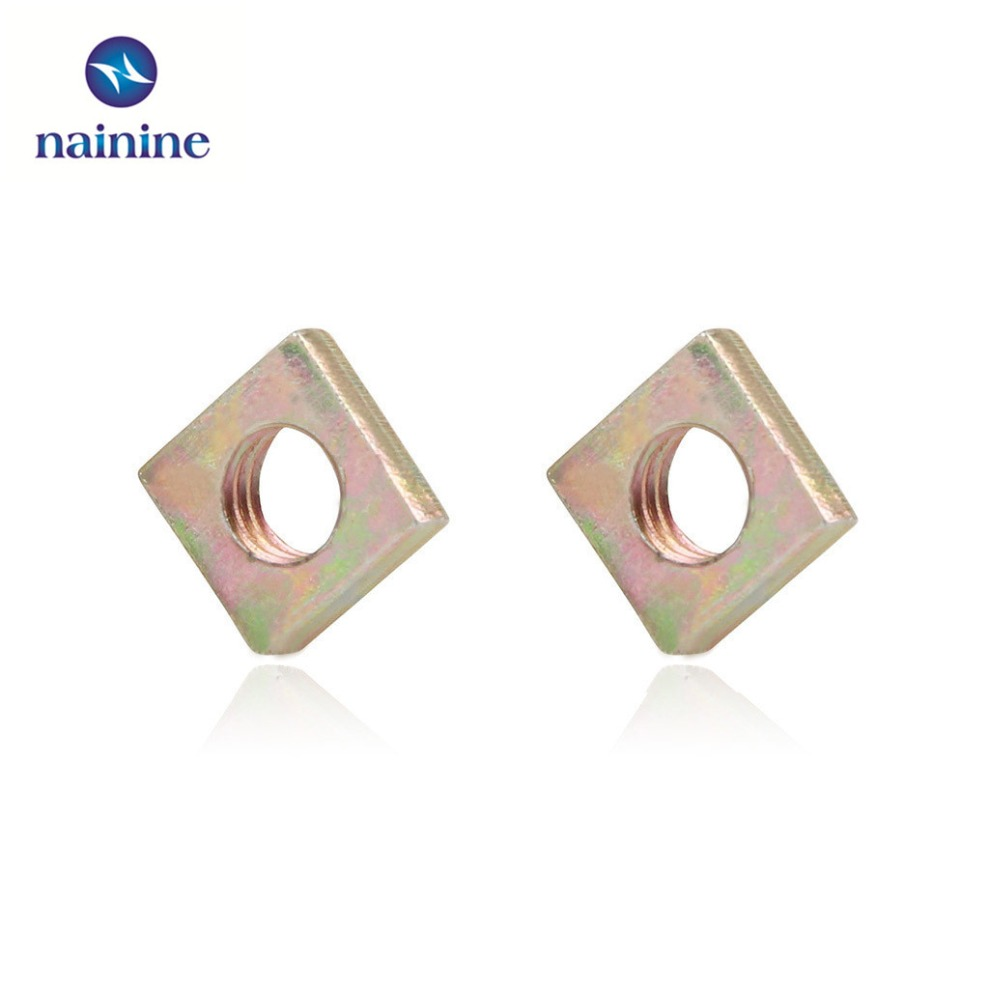 50Pcs DIN562 M3 M4 M5 M6 Color Zinc Plated Square Nuts Without Bevel Block Square Quadrangle Galvanized Pressed Nuts HW055