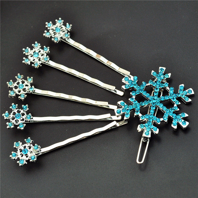 6 PCS Silver Blue Crystal Rhinestone Snowflake Hair Accessories Cute Lovely Hair Pin Hair Clip Barrette For Girls