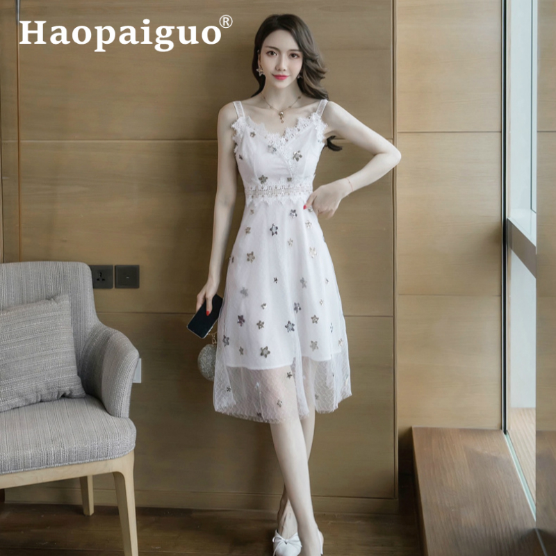 2019 Summer Kawaii White Dresses Ladies Sleeveless Corset Cute Midi Star Sequin Dress Women Slim Patchwork Lace Plus Size