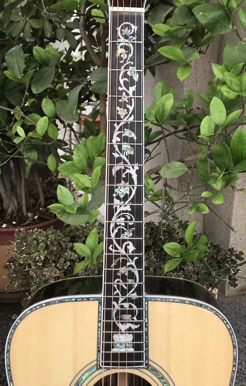 Livraison gratuite top qualité 41 pouces dreadnought guitares acoustiques abalone reliure acoustique guitare électrique