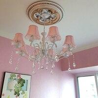 Американская детская комната люстра девушка принцесса розовый ткань Простой Европейский Средиземноморский спальня гладить кристалл ламп