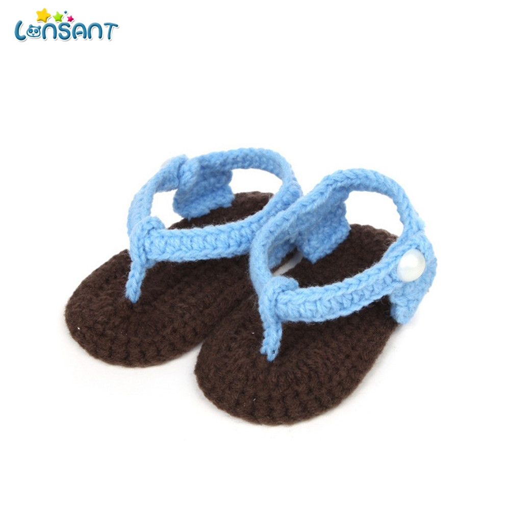 LONSANT 2018 Crib Crochet Cute Baby Girls Boys Handmade Knit Sock Clip Toe Infant Woolen Shoes baby Shoes 0-1 years old