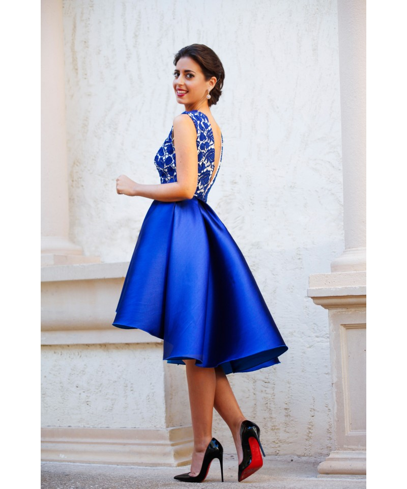 Amazing Royal Blue Lace Satin Cocktail Dresses Open Back Deep V