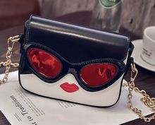Glasses lips stitching hit chain chain shoulder bag, women's fashion spring and summer new personality mini bag