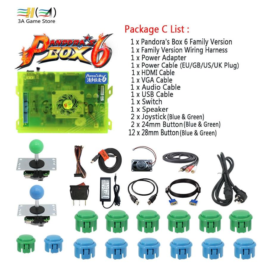 Pandora Box 6 1300 in 1 Family Version Control Accessories diy arcade joystick buttons HDMI VGA USB Speaker kit arcade 2 players
