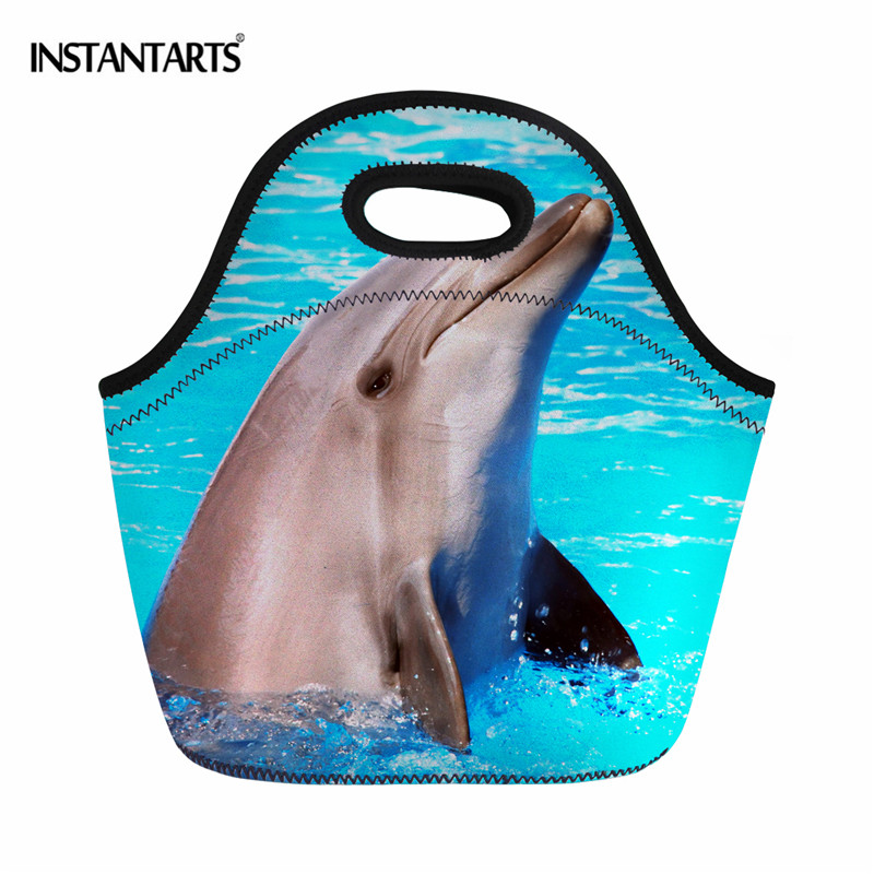 INSTANTARTS 3D Dolphin/Shark Print Neoprene Lunch Bag for Women Kids Lunch Tote Bags Cooler Insulation Lunch Box Picnic Food Bag