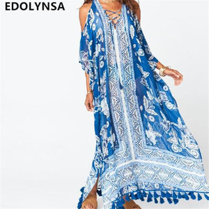Boho Floral Print Lace Up Cold Shoulder Batwing Sleeve Side Split Tassel Summer Beach Maxi Dress Plus Size Robe De Plage N626