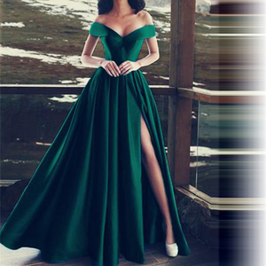Image 3 - Elegant Evening Dresses Sweetheart Satin Boat Neck Evening Gowns Long Party Gowns Side Split Robe De Soiree Sexy Formal Dresses