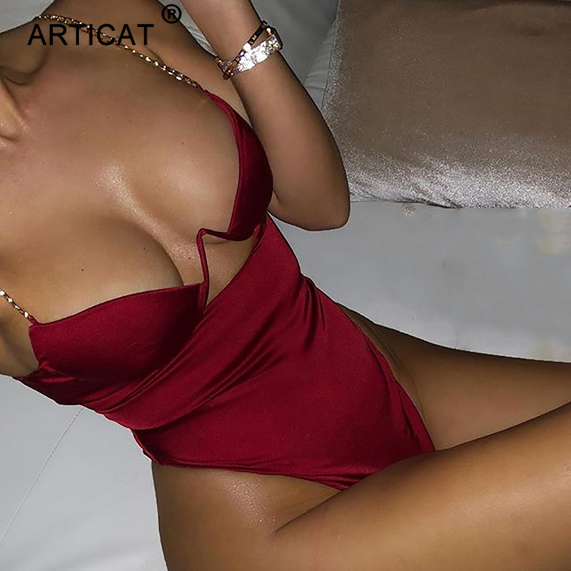 Articat Hollow Out Chains Strap Sexy Bodysuit Women V Neck Slim Bodycon Backless Romper Women Casual Beach Bodysuits Overalls