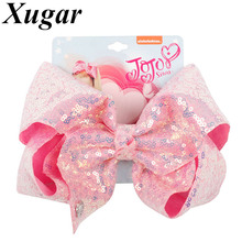 "Xugar Hair Accessories 8"" Jojo Siwa Sequin Hair Clips for Girls Handmade Hair Bows Hairgrips Candy Color Kids Headwear JOJO BOWS-in Hair Accessories from Mother & Kids on AliExpress"