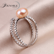 Real Natural Pearl Ring for women,Freshwater Pearl Wedding Ring 925 Sterling Silver Jewelry wife birthday gifts white pink  white pink purple natural freshwater pearl wedding ring adjustable rings for wife hot sale