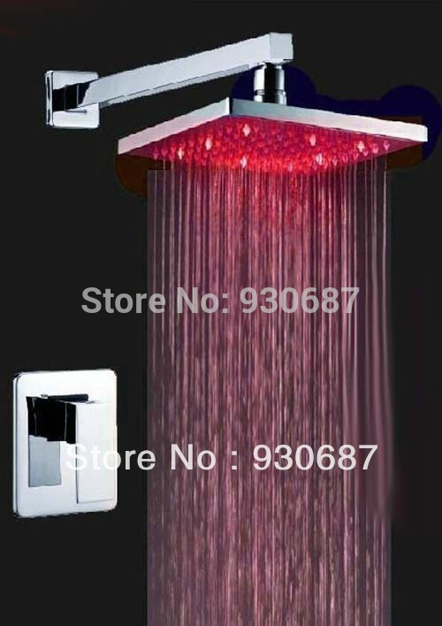 ФОТО Contemporary Soild Brass Three Color Changing Shower Set Faucet Wall Mount 8inch ABS Shower Head