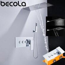 Sistema de cabezal de ducha de cascada y lluvia, grifo de baño y ducha cromado pulido, mezclador de lluvia de lujo, conjunto combinado de ducha, montaje en pared
