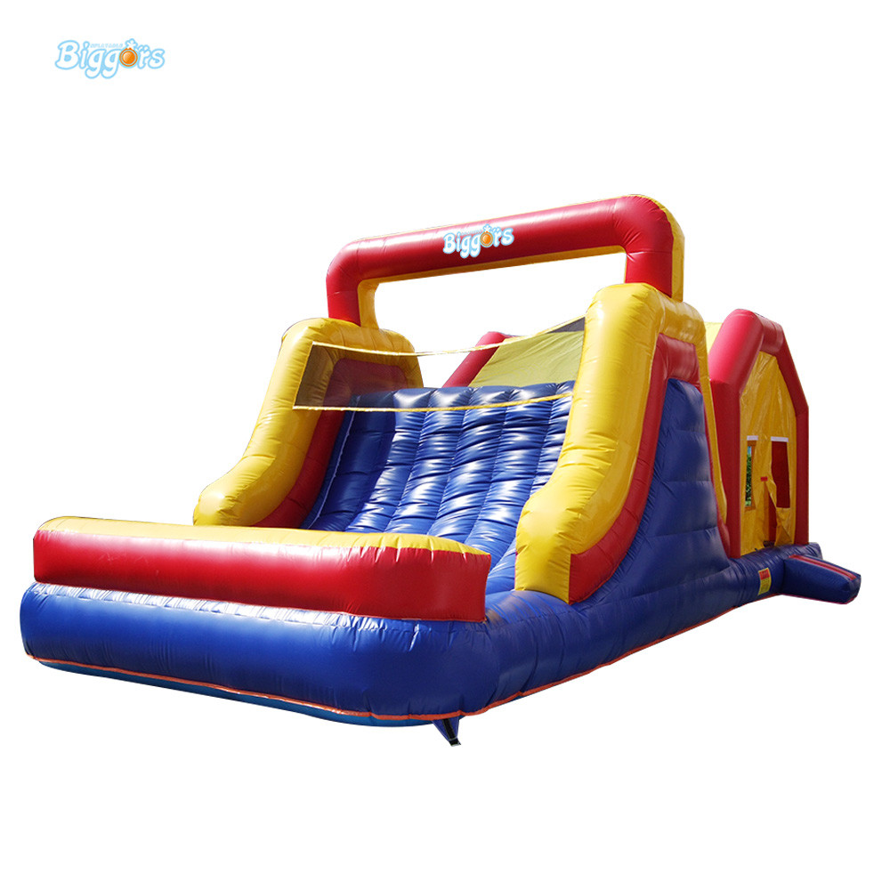 Outdoor commercial inflatable slide bounce house combo inflatable slide with blowers