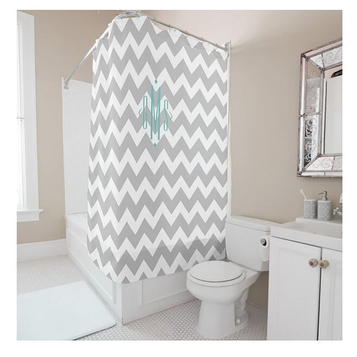 Romantic shower curtain - Simple Geometry Strips Letters Digital Printing Shower Curtain White Gray Polyester Waterproof Bathroom Shower Curtain China