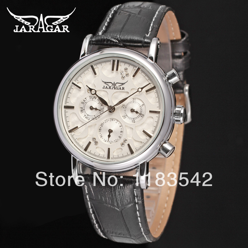 Jargar JAG6348M3S3 new men Automatic  fashion dress wristwatch silver color black leather  band   free shipping jargar jag6581m3t1 new men automatic fashion watch black wristwatch for men with black leather strap best gift free ship