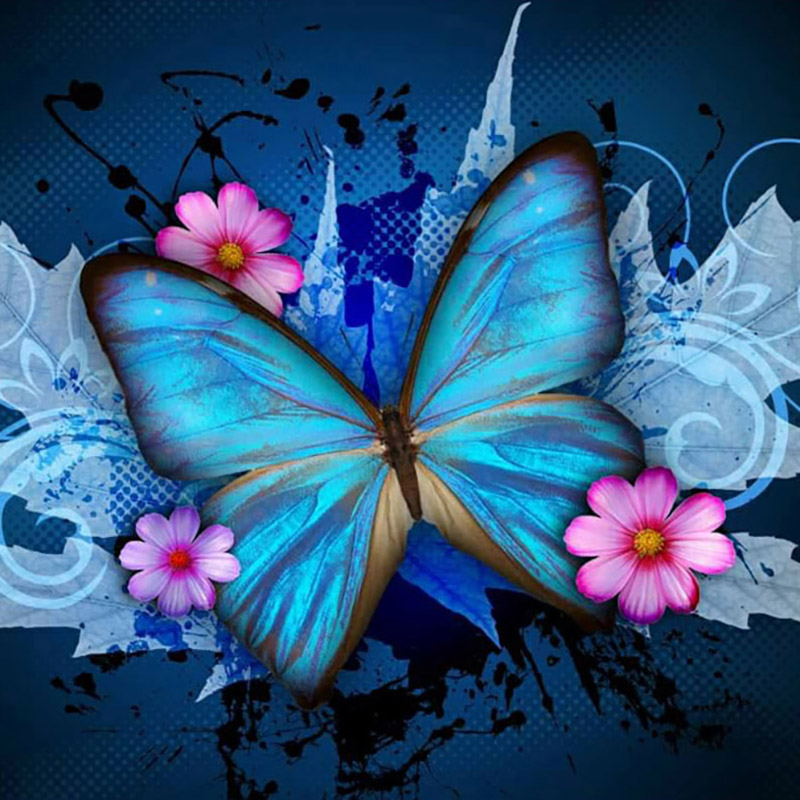 Butterfly-flowers-nimal-new-arrival-DIY-Crystal-full-drill-square-5D-diamond-painting-cross