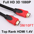Best Quality Gold Plated High Speed 1.4V 3D HDMI Cable 3M 10FT M/M For 4K Full HD 1080P HDTV PS3 Xbox Projector Laptop PC Game
