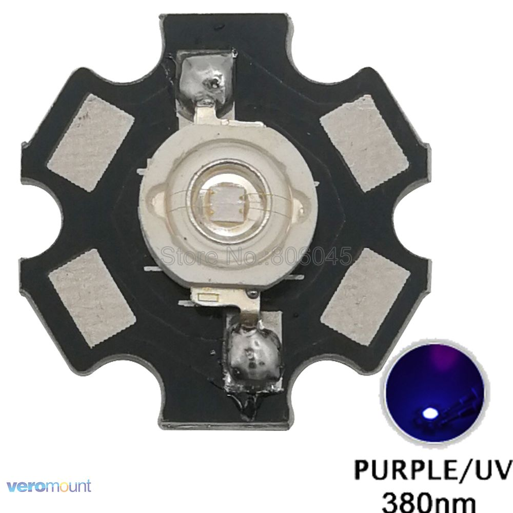5pcs <font><b>3W</b></font> <font><b>UV</b></font> <font><b>LED</b></font> <font><b>3W</b></font> 380NM Ultra Violet High Power <font><b>LED</b></font> Beads Emitter Bulb Chip Epileds 45mil on 20mm Aluminum PCB image