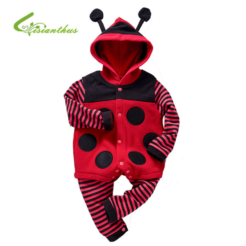 Spring Autumn Flannel Boy Girls Clothes Cartoon Ladybug Bee Costumes Jumpsuit Baby   Rompers   Long Sleeve Hooded Infant Clothing