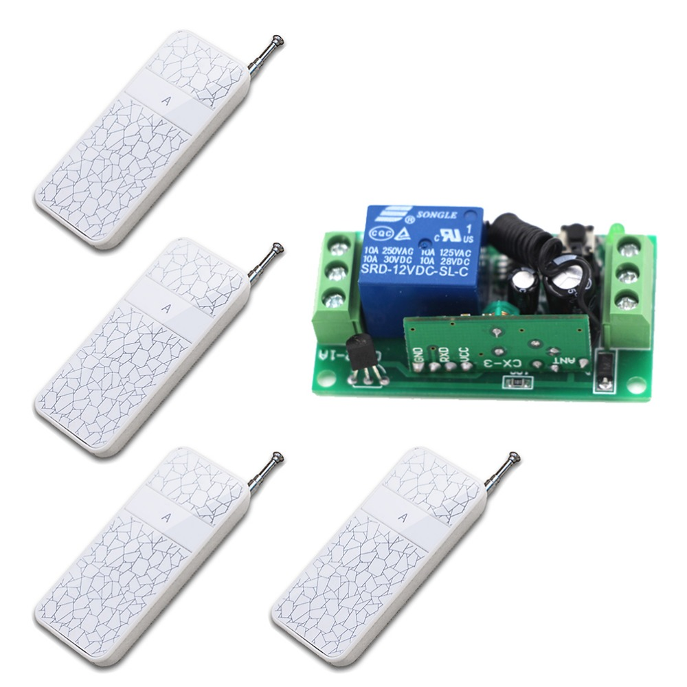 New Wireless Remote Control Switch 1CH Receiver Module Light Lamp Controls and RF Remote Controls(4pcs Transmitter) Hot Selling