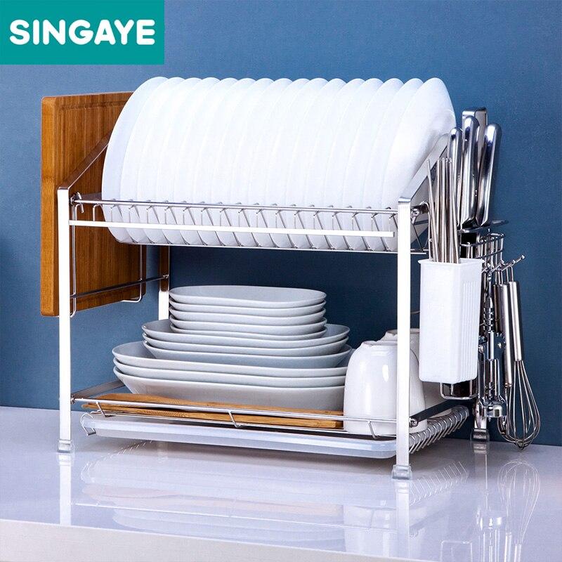 Kitchen Rack Set: SINGAYE Dish Rack Set Kitchen Shelf Two Layers 304