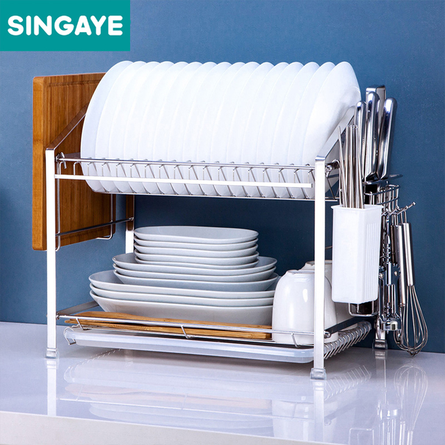 Singaye Dish Rack Set Kitchen Shelf Two Layers 304 Stainless Steel