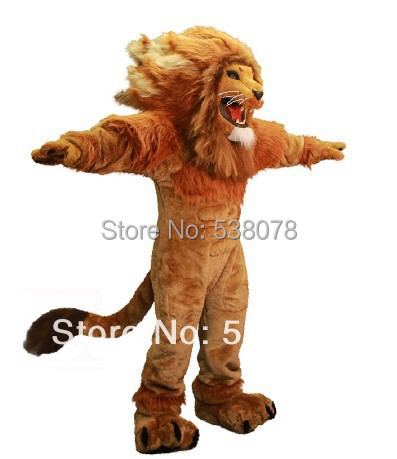 1a1fd34ec Fire Lion Mascot Costume Adult Size Wild Animal Male Lion King Carnival  Party Cosply Mascotte Fit