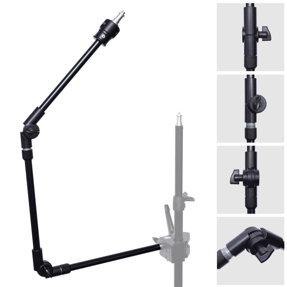 3-Section 360 Degree Adjustable Articulated Articulating Boom Arm w/ 1/4 3/8 Thread for Photography Flash Light photo studio two section adjustable articulated arm sliding extension system photography stand handle grip