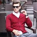 Новый стиль осень кардиган мужчины марка свитер мужчин повседневная свитера V-образным Вырезом воротник пуловер мужчины бизнес марка одежды