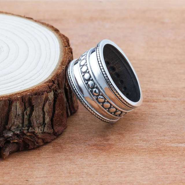 925 Sterling Silver Rings For Women Three Layers 12mm Width Vintage Rings Silver Jewelry Women Wedding Rings(RI102782)