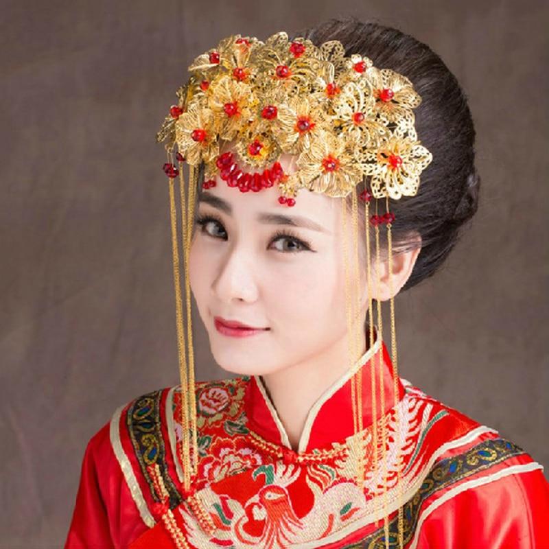 Wedding Vintage Style Hair Accessories: Retro Chinese Style Wedding Headpiece Bridal Hair