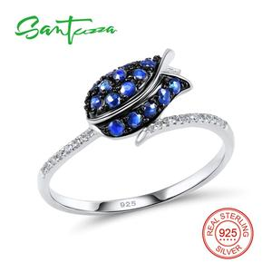 Image 2 - SANTUZZA Silver Ring For Women 925 Sterling Silver Full Of Love tulip Flower Ring Blue Nano Cubic Zirconia Ring Fashion Jewelry