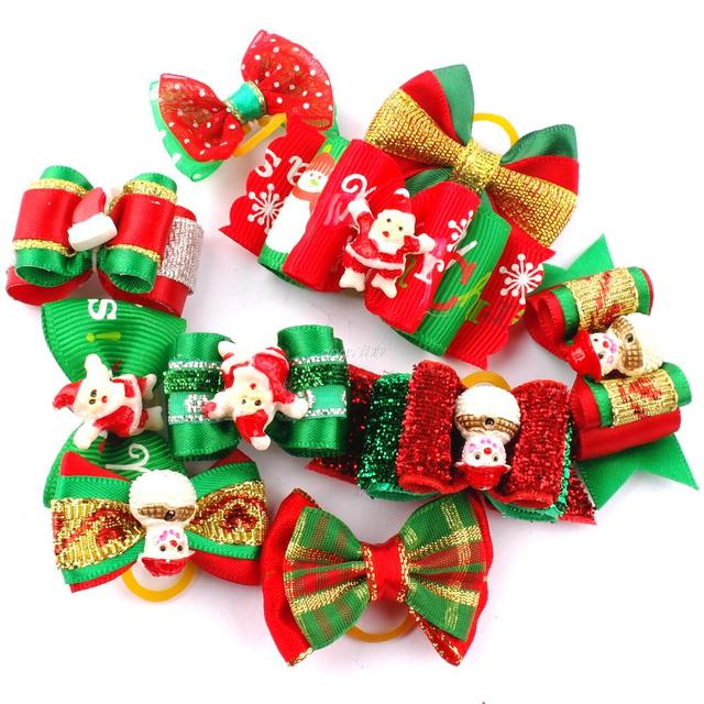 20pcs Dogs Christmas Pet Dog Cat Grooming Hair Bows Festival Hair Accessories Mixed