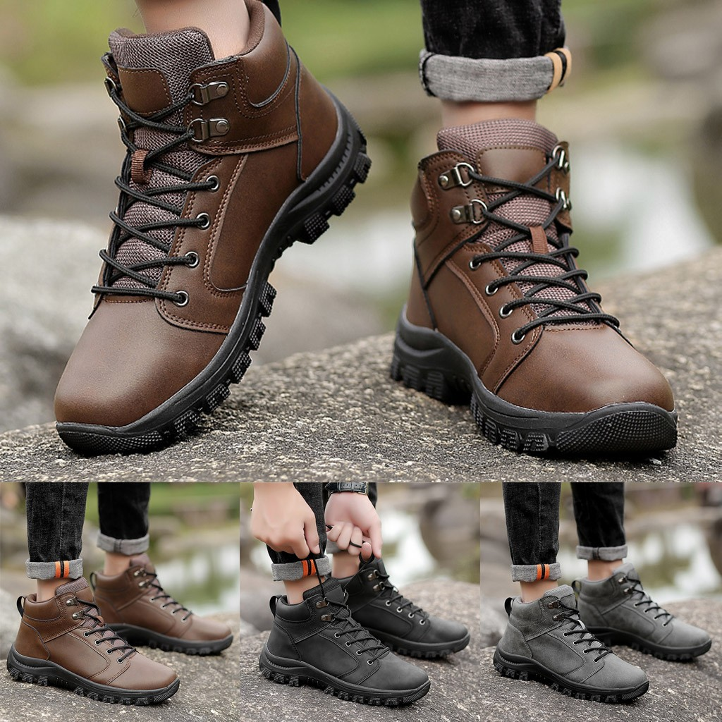Men Outdoor Casual Shoes High-Top Fashion Hiking Shoes Men Non-slip Sports Shoes